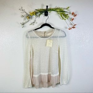 A'Reve | NWT Lace Sweater Cream Women's Size Small